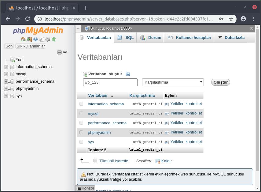 phpmyadmin veritabanı oluşturma