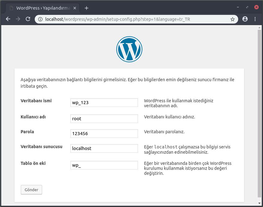 wordpress kurulum bilgileri
