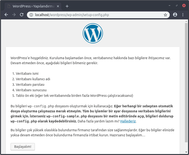 wordpress kurulumu