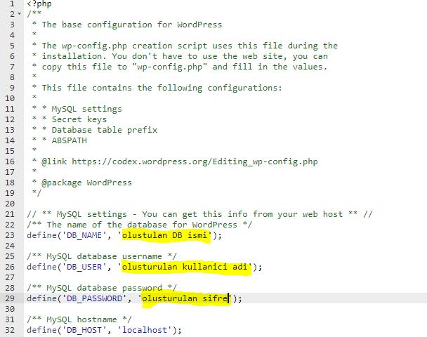 wp-config.php düzenleme
