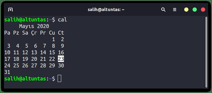 linux takvim (cal) konutu
