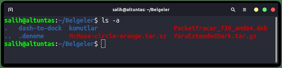 linux ls -a komutu
