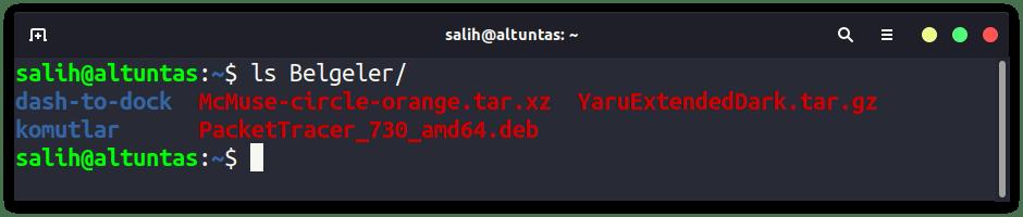 linux ls komutu