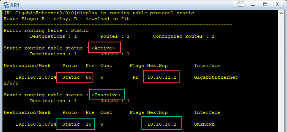 display ip routing-table protocol static