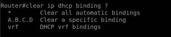 clear ip dhcp binding